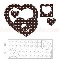 34874J Set patrat si inima cu buline , de ciocolata 280 bucati