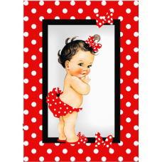 VBSDots Vafa bebelusa rosu cu picatele albe Vintage Baby Shower Collection 30x20cm