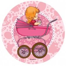 26196B Disc din zahar bebelusa roz diametrul cca 21cm Modecor