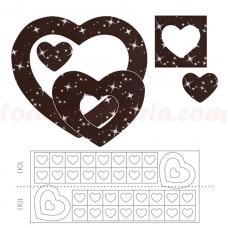 34883H Set patrat si inima cu stelute , de ciocolata 280 bucati