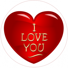97549Z Disc de zahar inima I  LOVE YOU D20cm