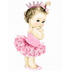 VBS1Z Foaie de zahar bebelusa cu tutu si coronita roz Vintage Baby Shower collection 29x20cm