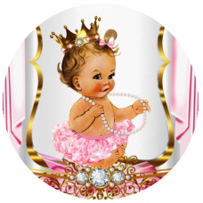 VBS2R Disc vafa bebelusa cu tutu roz Vintage Baby Shower collection D20cm